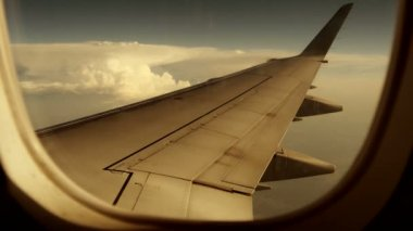 Airplane window view background — Stock Video