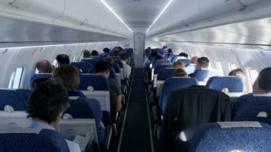 Passengers sitting in plane — Stock Video