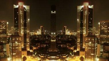 Stadens silhuett på natten — Stockvideo