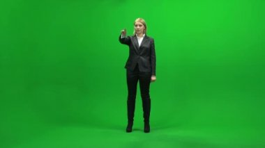 Touchscreen gestures of young businesswoman — Stock Video