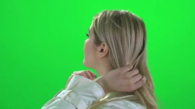 Woman touching with her hair — Stock Video