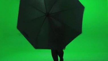 Woman dancing with umbrella — Stock Video