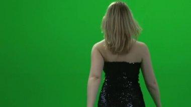 Fashion model posing in elegant dress — Stock Video