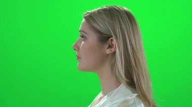 Profile portrait of young woman — Stock Video