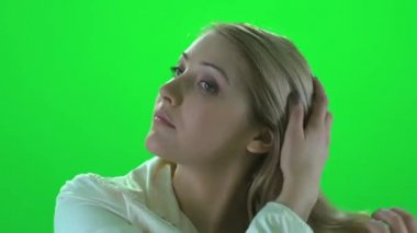 Woman playing with her hair — Stock Video