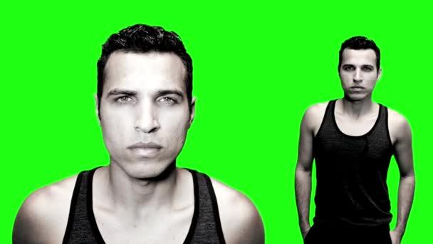 Man on green screen — Vídeo de stock