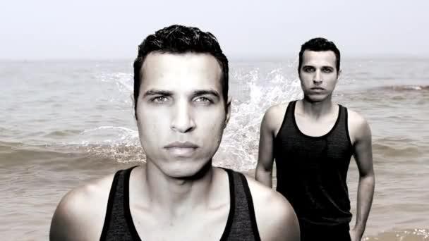 Man standing in front of beach background — Vídeo de stock
