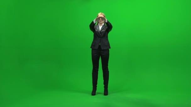 Touchscreen gestures of young businesswoman — Vidéo