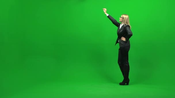 Touchscreen gestures of young businesswoman — Vídeo de stock