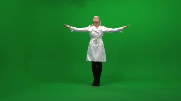 Woman raising hands — Vidéo