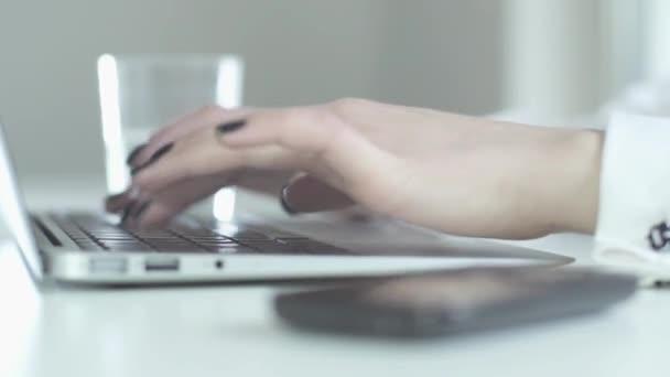 Empresaria trabajando en portátil — Vídeo de stock
