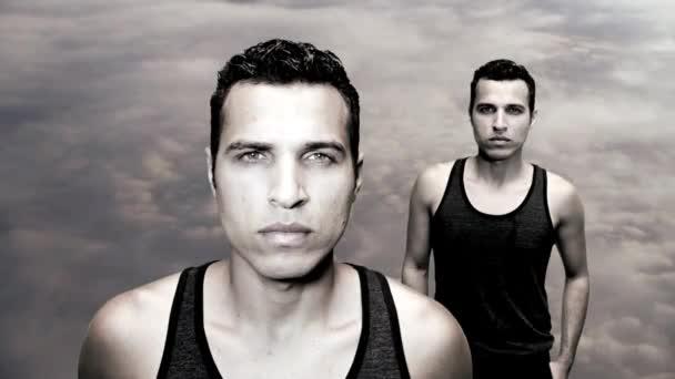 Male model with sky on background — Vídeo de stock