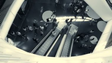 People are moving on modern escalators — Stock Video