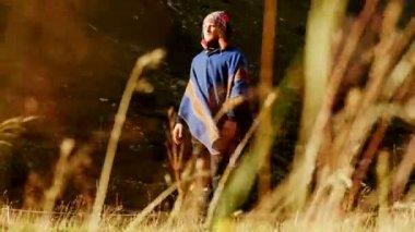 Shaman man walking alone in nature — Stock Video