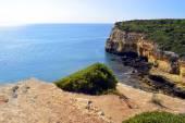 Spectacular cliffs on Senhora Da Rocha Nova Beach in Portugal — Stock Photo