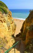 Steps down to Senhora Da Rocha Nova Beach in Portugal — Stock Photo
