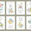 Set of 8 cards with flowers — Stock Vector #70255877