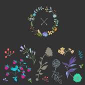 Gentle decor with flowers — Stock Vector