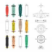 様々 な形のスケート ボードとロングボードのコレクション — ストックベクタ