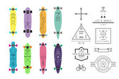 Collection of various shaped skateboards and longboards — Stock Vector