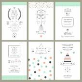 Retro collection of wedding invitations — Vecteur