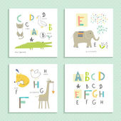 Cute zoo alphabet — Stockvector