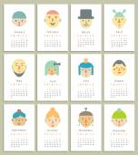 Calendar 2015 with different funny faces — Stock Vector