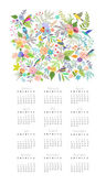 Calendar 2015 with flowers and birds — Stock Vector
