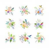 Set of flowers with birds — Stockvektor