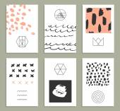 Set of 6 creative cards — Stock vektor
