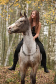 Amazing girl with long hair riding a horse — Photo