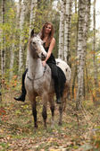 Young girl with appaloosa horse in autumn — Stockfoto