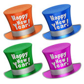 3D rendered collection of colorful Happy New Year top hats — Stock Photo