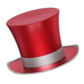 3D rendered red decoration top hat with silver ribbon — Stock Photo