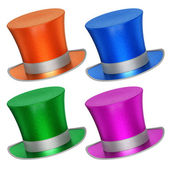 3D rendered collection of colorful decoration top hats — Stock Photo