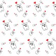Black and white pattern of simless cartoon bear with a red heart — Stock Vector #53604783