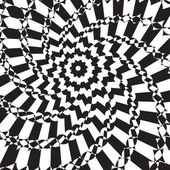 Abstract background is an optical illusion black and white flowe — 图库矢量图片