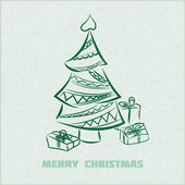 Vintage vector retro Christmas card with christmas tree — ストックベクタ