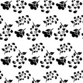 Black and white seamless pattern of flowers and falling petals — Stock Vector
