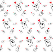 Black and white pattern of simless cartoon bear with a red heart — Stock Vector