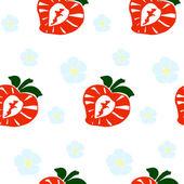 イチゴと花 - シームレスなパターン. — ストックベクタ