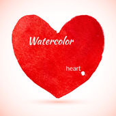 Watercolor painted red heart — ストックベクタ