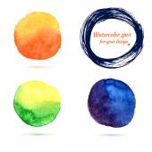 Watercolor brush strokes and circle splashes — Stock Vector