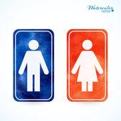 Signes - toilette, changer de salle, mâle, femelle, wc — Vecteur