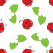 Seamless pattern with ladybugs — Stock Vector #64002615