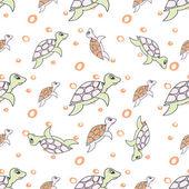 Turtles in cartoon style — 图库矢量图片