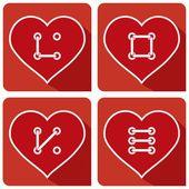 Hearts Button sew LOVE — Διανυσματικό Αρχείο