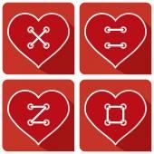 Hearts Button sew LOVE — Stock Vector