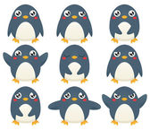 Penguin Emotion Set — Stock Vector