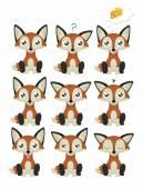 Fox Emoticon Set — Stock Vector